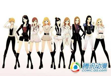 韩国人气组合少女时代首次出现在漫画中